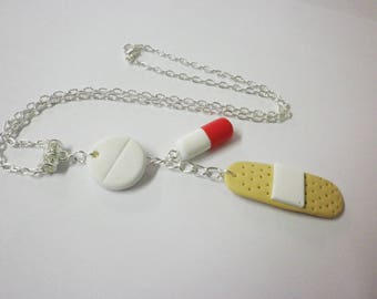Gift nurse necklace nurse theme hospital, stamp, pills, bandages, polymer clay, gift, graduation, birthday gift, gift