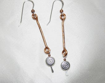 Copper Stick Earrings with Spirals
