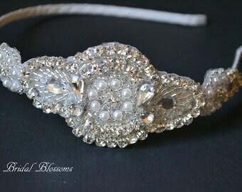 Stunning Crystal Rhinestone Pearl Headband   Rhinestone Headband   Bridal Headpiece   Flower Girl Bridesmaid   Gatsby Art Deco Hair Piece