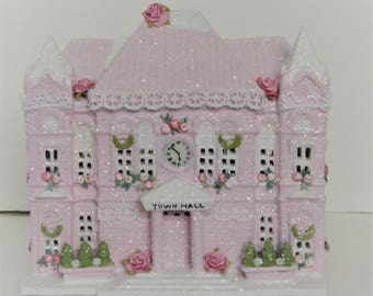 Shabby chic pink Victorian Christmas roses village house upcycled #2