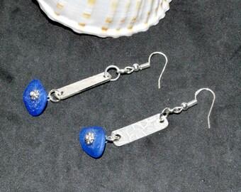 Sea Glass Earrings, Sterling Pierced Earrings, Cobalt Blue Sea Glass Earrings, Sea Glass Jewelry, Mermaid Earrings