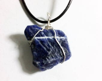 Sodalite raw silver wire wrapped, rough stone, natural gemstone, Sagittarius, Cancer