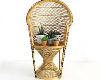 Vintage Peacock Chair Plant Stand, 30 inch child size chair