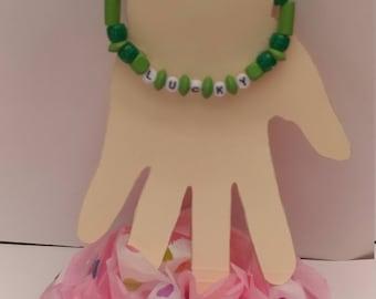 Green LUCKY slogan personalized bracelet