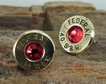 Bullet Jewelry - Red Federal 40 S&W Bullet Earrings - Stud Earrings - Ultra Thin