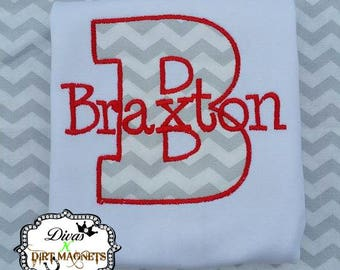 Custom Monogram Shirt/Bodysuit - Chevron Red Monogrammed Shirt - Custom Name and Letter Shirt/Bodysuit