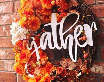 "Orange and White ""Gather"" Grapevine Wreath (24""), Front Door Wreath, Gather Family Wreath, Any Season Wreath, Everyday Wreath, Large Gather"