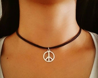 Peace Sign Choker, Peace Sign Necklace, Peace Choker, Peace Sign Jewelry, Bohemian Jewelry, Grunge Jewelry, Gift for Her, 90s Choker Jewelry
