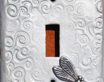 Silver Dragonfly Swirls Polymer Clay Light Switch Plate Cover