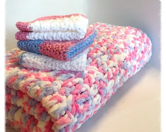 Blue and Pink Baby Blanket Gift Set