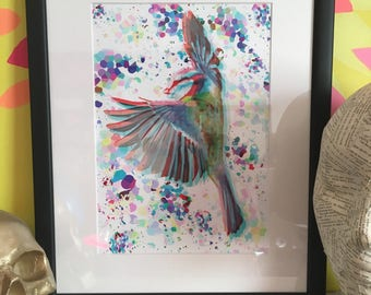 Modern art, blue tit, bird art, framed art, digital drawing, multicoloured art