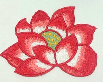 FABRIC FUSIBLE APPLIQUE: flower Lily red 130 * 90mm