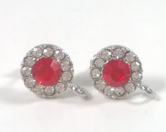 2 pcs / 1 pair Silver  Red  0.5 inch Faceted Glass Crystal Earrings Posts - Jewelry Supplies Findings