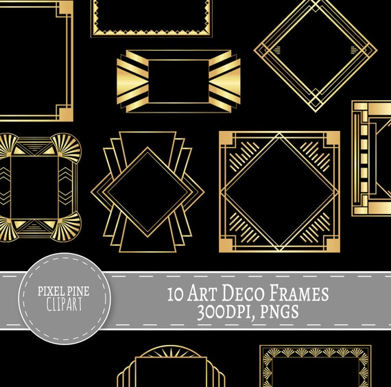 Art Deco Frames Black and Gold, 10 PNGs, Commercial Use, gold gatsby ...