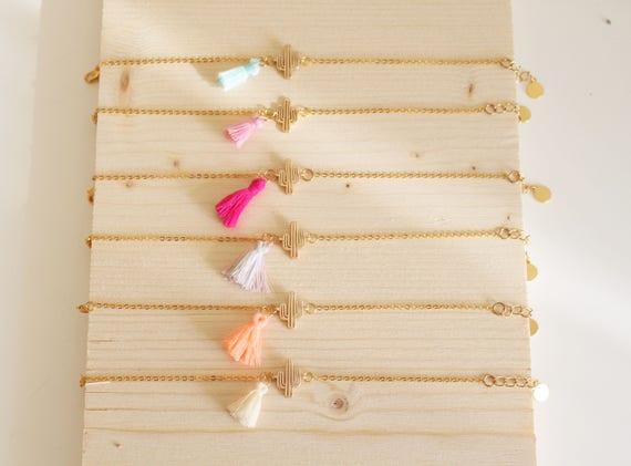 Fine bracelet, tassel, boho bracelet, choice of color and cactus bracelet