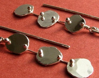Stepping Stone Earrings: Sterling Silver Riveted Dangles