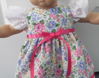 Pretty floral print dress and headband for 15 inch doll