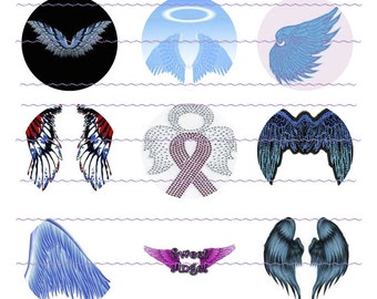 INSTANT DOWNLOAD Angel Wings Bottle Cap Images One Inch Circles Digital Images Party Favors Hair Bow Centers Graphic Design Digital Files