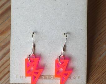 Fluo Pink Lightning Earrings (hoop) - (22x11mm) - Laser Cut