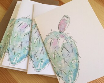 Watercolor Desert Note Cards - Prickly Pear Cards - Cactus Cards - Cacti Note Cards - Succulent Cards - Watercolor Cactus Cards - Box of 6