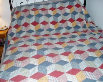 Vintage Hand Sewn Multi-Color Quilt