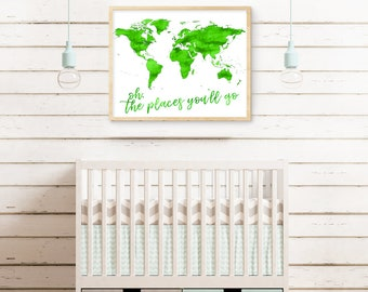 Oh, The Places You'll Go Green Watercolour Digital Print
