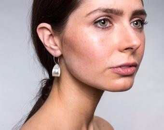 Handmade Sand-Brushed Delicate Sterling Silver Earrings