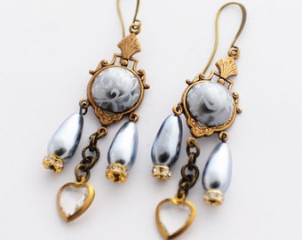 Mother's Day Gift, Pearl and Heart Earrings, Grey and Gold, Crystal Earrings, Victorian Earrings, Silver Pearl Earrings, Romantic Jewelry