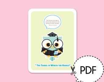 Glamour Owl Graduation Card Kit-Printable PDF Download
