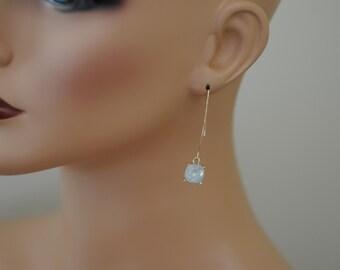 Threader Earrings, White Opal Threader Earrings, Square White and gold, Drop Earrings, Gift for her, Long earrings, Everyday use