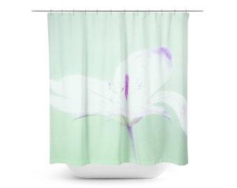 Shower Curtain White Flower Home Decor Mint Green Pastel Purple Bathroom Fl Shabby Chic Feminine