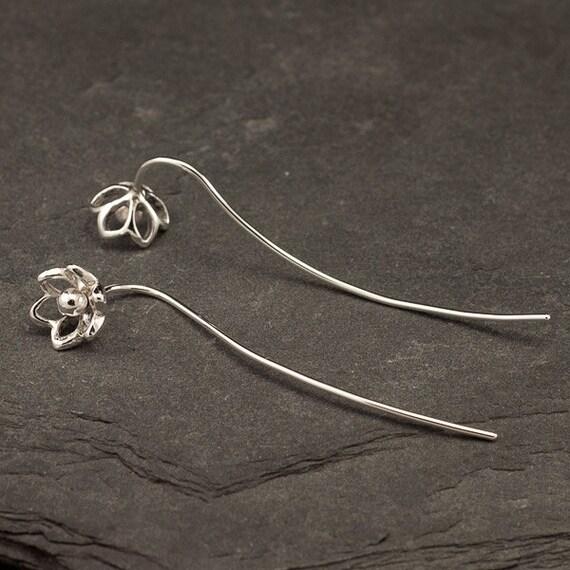 Silver Flower Earrings- Sterling Silver Dangle Earrings- Long Sterling Silver Earrings- Threader Earrings