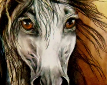 original art  pastel drawing mustang haunted eyes