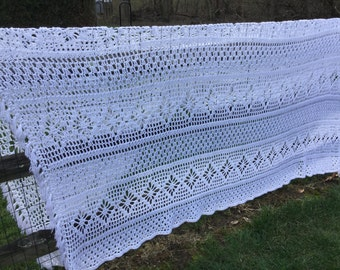 White Crocheted Afghan 98x111 Bedspread Shawl Afghan