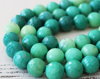 Large Round Grass Opal - 12mm Round Faceted Gemstone Beads - Jewelry Making Supplies -  Jewelry Supply - CHOOSE AMOUNT