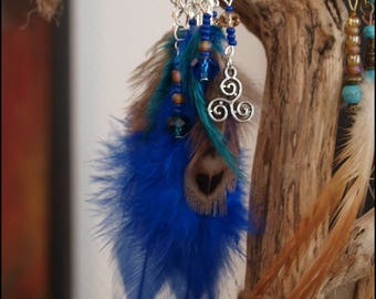 Connector, 4 Brown charms, blue, green Peacock feather earrings