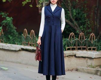 Woolen dress Long dress Sleeveless dresses