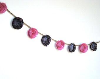 Paper Rose Garland - Custom Color Roses - 8ft Garland