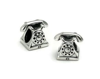 Silver 925 big hole bead phone AC0306 PK0196