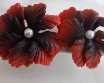 Vintage earrings, burnt orange colored early plastic and faux pearl flower earrings, stud earrings, retro earrings
