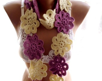 crochet lariat scarf, crochet scarf, , crochet flower scarf, scarves for her