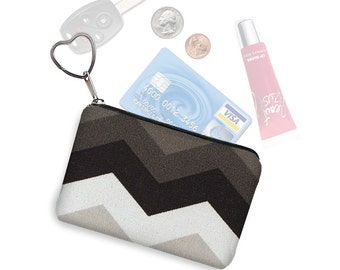 Small Zipper Pouch Chevron Pattern Coin Purse Keychain Cute  Change Purse  Business Card Holder Purse Organizer black gray white   RTS