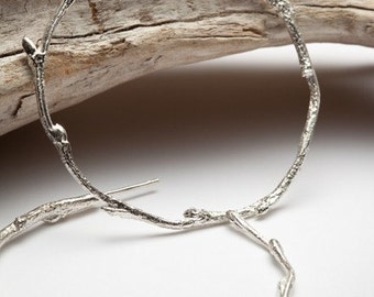 Elvish twig hoop earrings, sterling silver - organic elven forrest branch - RedSofa jewelry