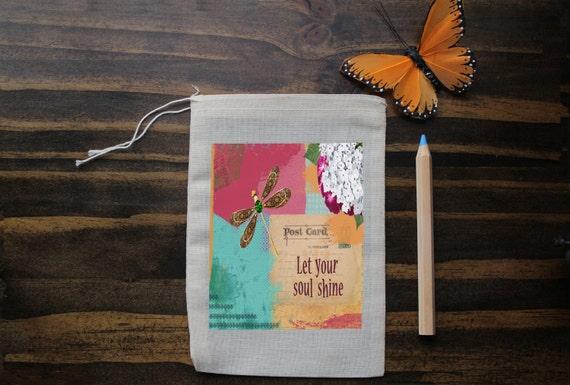 Dragonsfly Muslin Bags - Art Bag - Party Favor - Pouch - Gift Bag - 5x7 bag -