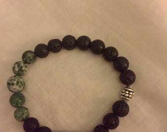 Aromatherapy bracelet with lava beads and tree agate (green and white speckle)  gemstones.