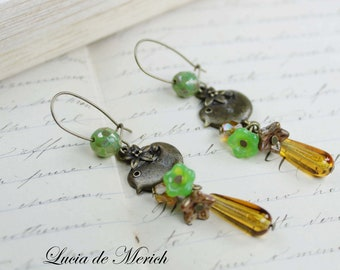 Bird among flowers earrings, green and yellow . Bird lover gift- Coupon code.Black friday -Cyber monday