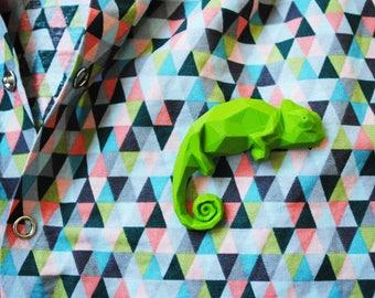 Baby Chameleon - 3D printed  Polygonal Brooch
