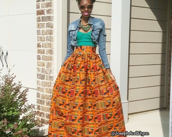 Traditional Kente Ankara Maxi Skirt (XS - 6XL)