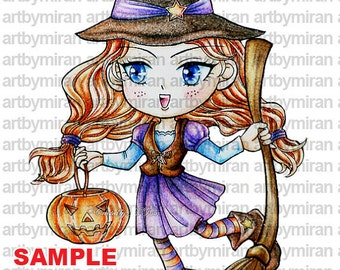 Halloween digital stamp-Trick or treat, Witch coloring page, Children's Art, instant download, chibi, cute image, Anime, kawaii, Line art