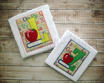 Back to School Book & Apple with Initial T-shirt for Boys or Girls